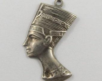 Large Bust of Nefertiti Sterling Silver Vintage Charm For Bracelet