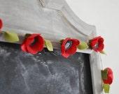 Poppy Felt Flower Garland 6 ft. Ready To Ship (Within 24 Hours) , Handmade Merino Wool-Blend Felt Forever Flowers | Poppies