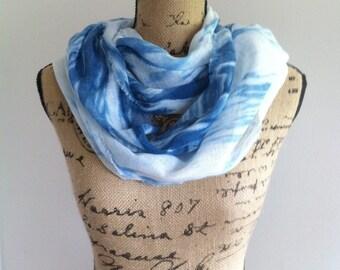Summer scarf Shibori indigo dyed cotton gauze