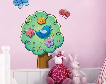 Cute Tree with Butterflies Wall Decal