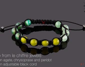 Nile green agate chrysoprase peridot shamballa bracelet