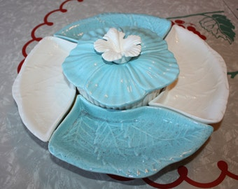 Cool Turquoise Ceramic Sectional Snack Platter with Lazy Susan