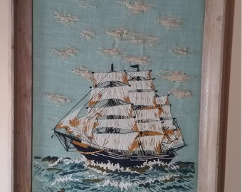 Embroidered clipper ship picture