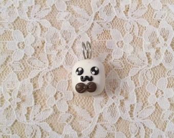 Kawaii Marshmallow With Bowtie Clay Pendant / Kawaii Food Charm / FREE SHIPPING