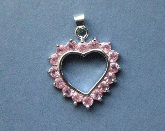 2 Rhinestone Heart Charms - Rhinestone Heart Pendants - Heart Charm - Heart Pendant - Love - Silver Tone - 23mm x 20mm -- (P6-10927)