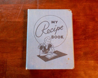 Vintage My Recipe Book/ Hardcover/ 1950's/ Recipe Storage Book