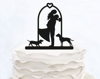 Wedding Cake Topper with heart_Couple Silhouette_Bride And Groom Cake Topper With two Dogs_Custom Cake Topper_Funny Cake Topper