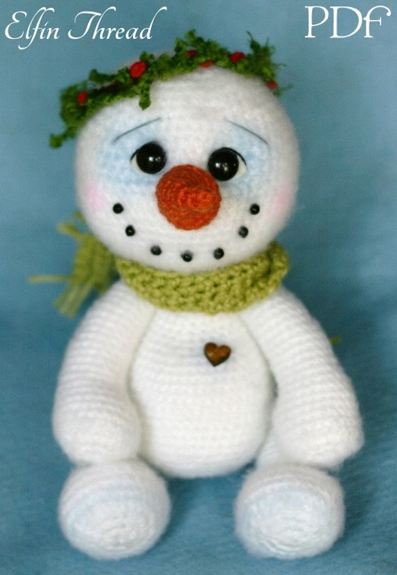Elfin Thread Chubby snowman Amigurumi PDF Pattern Crochet