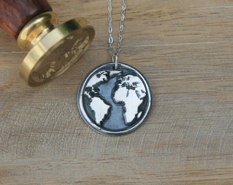 World map wax seal fine silver pendant