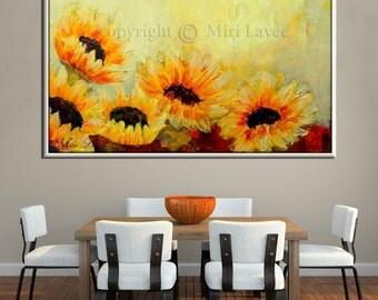 Sunflower, Sunflower Painting, Paint Strokes, Hand Made Painting, Textured Painting, Textured Wall Art, Yellow Flowers, Living Room Decor