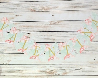 Personalized Floral Name Christening Baptism Scallop Banner, Name Banner, Floral Banner, Party Banner, Customizable