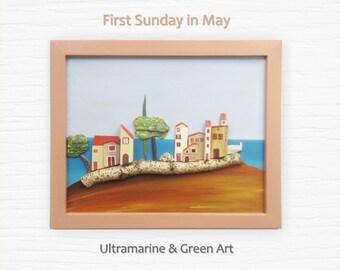Housewarming Gift, Reclaimed Wood Art, Wood Wall Art, Textured Painting, Oceanic Wall Hanging, Coastal Decor, Mediterranean Art,Nautical Art
