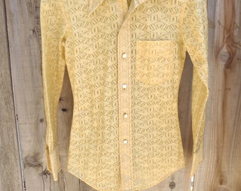 Vintage Button 70's Disco Women's Western Yellow Sheer Cutout Shirt D' Robb's XS
