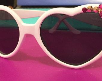 Pink Heart Shape Kawaii Flower Kitty Sunglasses.
