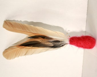 Feather cat toy, Cat teaser toy, Wool cat toy, Cat play toy