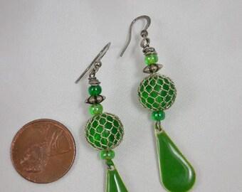 Lime Green Enamel Beaded Dangle Earrings