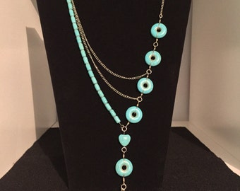 Blue necklace with earrings