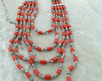 Beaded Necklace Handmade, Coral Beads, Metal Jewelry, Multi Layer Necklace, Ready to Ship Jewelry