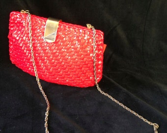 Gorgeous Walborg Red Vinyl Wicker Clutch Purse 1960s