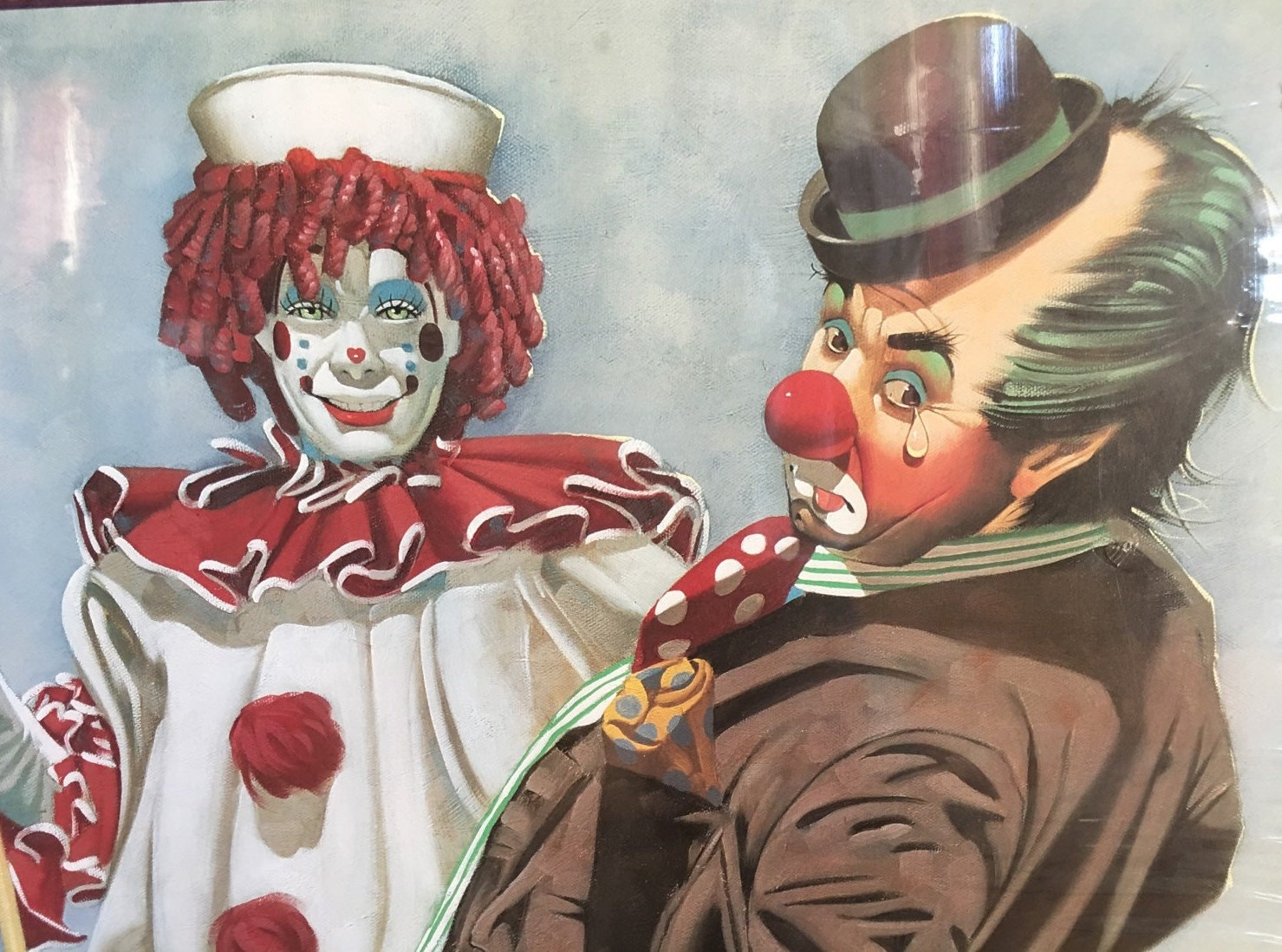 Two Clowns Playing Pool Poster Print By Chuck Oberstein