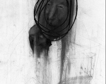 Figurative Charcoal Drawing 'Moving'  - Giclee Print -