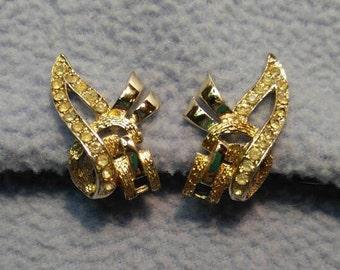 Vintage Coro Goldtone Rhinestone Earrings