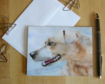 Hound Dog Note Card Blank Watercolor Notecard Thank You Birthday Friendship Encouragement Greeting Card  Invitation Dog Lover Just a Note