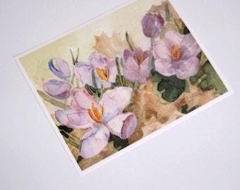 Crocus Picture, Crocus Watercolor Print, Purple Crocuses, Purple Flower Picture, Springtime, Watercolor Flower Print, Painting, 8x10 Inches
