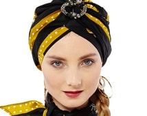 Black African Print Turban with matching brooch and Scarf - Ankara Turban - Pret-a-porter Pre made Headwrap Turban - Ethnic Aztec Print cap