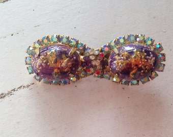 Vintage Purple and Gold Easter Egg Brooch with Blue AB Rhinestones 0517