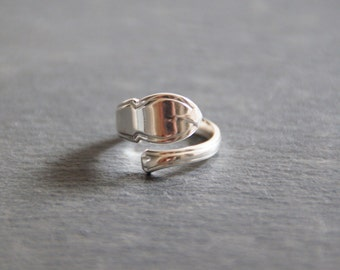 Solid Silver Antique Spoon Handle Ring