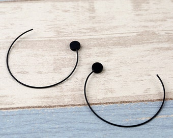 10pcs ( 5 Pairs )- SIMPLE Black Brass Large Round Hoop Earring (R311R)