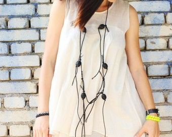 FREE SHIPPING / White Cotton Top/ Extravagant Tunic / Oversized Summer Top / Casual Tunic / White Tunic by Fraktura B0021