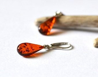 RESERVED for Katie Baltic Amber Earrings / cognac polished amber drops /  drop earrings / cognac amber