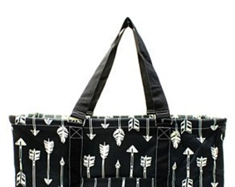 Black Arrow Large Utility Tote/Tote Bag - Personalized/Monogrammed