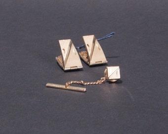 Swank vintage cufflinks and tie tack set