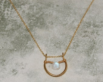 Rainbow moonstone and gold horseshoe pendant necklace with gold filled fine chain