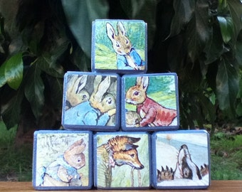 SIX Peter Rabbit blocks, storybook blocks