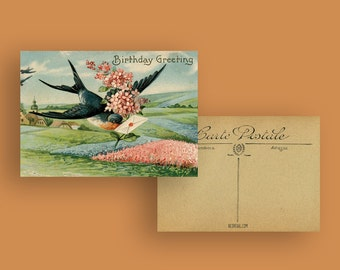 Postcard Swallow & Flowers, Vintage, Birthday Card, Greeting Card, Best Wishes, Heart