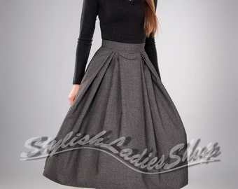 Grey flared MIDI skirt, Formal skirt pleated Autumn skirt knee length Office skirt.