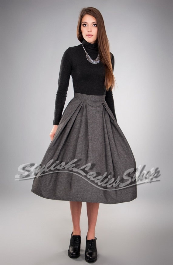 grey flared midi skirt formal skirt pleated by
