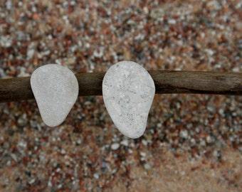 Minimalist Earrings - Mismatch Studs - Zen Jewelry - Beach Stone