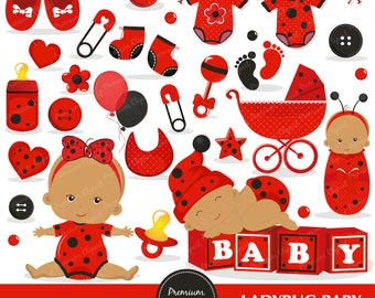 Baby clipart, ladybug baby, baby shower clipart, lady bug baby, ladybug clipart, african american baby, commerical use - CA331