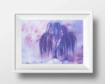 Landscape painting Tree Print Purple Watercolor Print, willow tree watercolor