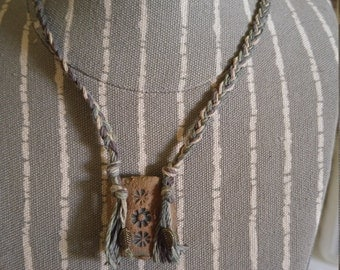 Rustic Pottery Pendant/Necklace Organic Hemp