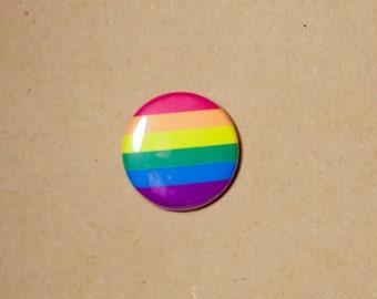 "Gay & Lesbian Pride button, magnet, Rainbow flag, 1"" pinback button, pin, badge, GLBTQ pride, queer pride badge"