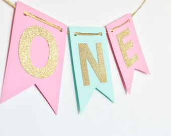 Mint Pink and Gold Year Banner, High Chair Banner, Birthday Banner, Photo Prop, First Birthday