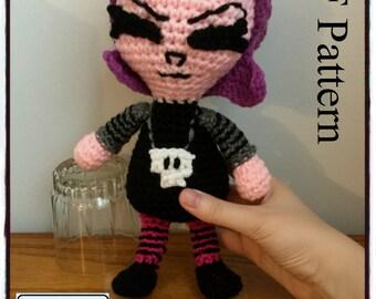 "PDF Pattern for Crochet Amigurumi ""Invader Zim"" Inspired Gaz Doll"