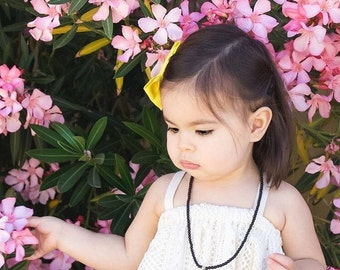 Black Beaded Mini Tassel Necklace - Children's necklace, kid's necklace, flower girl gift