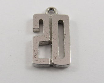 "Number ""20"" Sterling Silver Charm or Pendant."